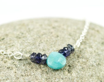 Water Sapphire Bar Necklace - September Birthstone - Amazonite Necklace - Amazonite Jewelry - Iolite Necklace - Iolite Jewelry - Layering