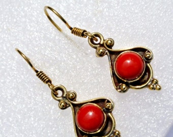 Gold Plated Red Coral Earrings Gemstone Earrings Handmade Earrings Handmade Jewelry (Ear01)