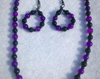 Darkness Sky Purple and Black beaded necklace and earring set