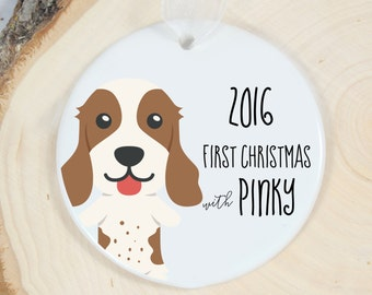 First Christmas Ornament - Personalized Pet Ornament - Dog Gift - Welcome Springer Spaniel