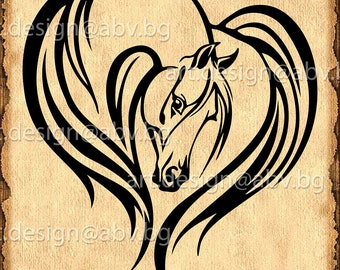 Vector HORSE, love, heart, SVG, DXF, ai, eps, pdf, png, jpg Download, Digital image, graphical image, discount coupons