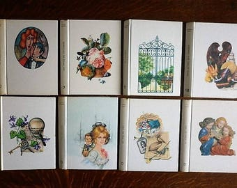 Set of 8 french ephemera book cover for book bindings project diary or recovery back cover