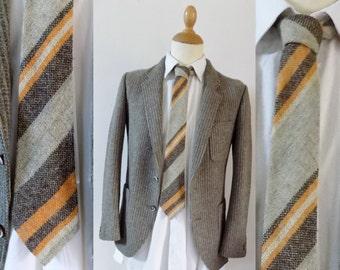 Mans tweed orange marron col cravate vintage stripe cravate en laine 3 pouces de large