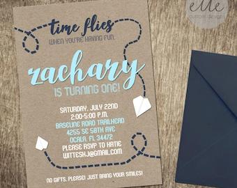 Time Flies Custom Invitation, Paper Airplane Invitation, Kraft Paper Invitation, First Birthday Invitation, Printable Invitation