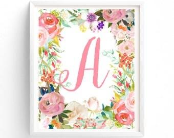 Letter A  Monogram Printable, Nursery Decor, Nursery Wall Art, Nursery Prints, Nursery Art, Monogram Floral Letter, Woodland Nursery