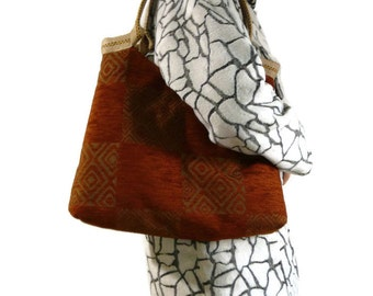 Large handbag, fashion tote bag, trendy shoulder bag, carpet bag, orange brown upholstery fabric, unique  tote bag, fall colors, OOAK bag