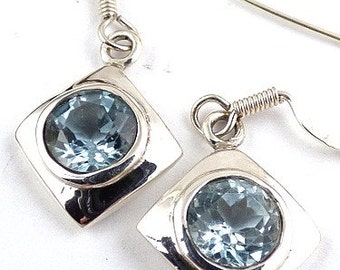 EARRINGS blue TOPAZ, Blue Topaz jewelry, natural stone jewelry, topaz jewels, topaz earrings ab31