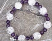 Amethyst and Crackle Quartz Stretch Bracelet  Heart Charm  Handmade