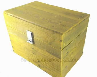Handmade Storage box- Medium foot locker - Lockable Trunk - Heavy Duty Toy Box - Unique storage Box -yellow crate