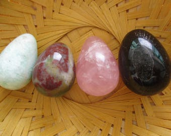 2nd Quality Rose Quartz Yoni Egg | Blood stone |Obsidian  | Narmadeshwar | Biack agate | Amazonite  Yellow Quartz | Handmade  Reiki Infused