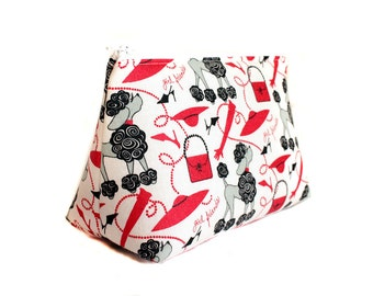 Poodle Makeup Bag- Gift For Her- Zippered Makeup Pouch- BFF Makeup Bag- Gift For Her- Poodle Pouch- Zippered Pouch- Red and Black