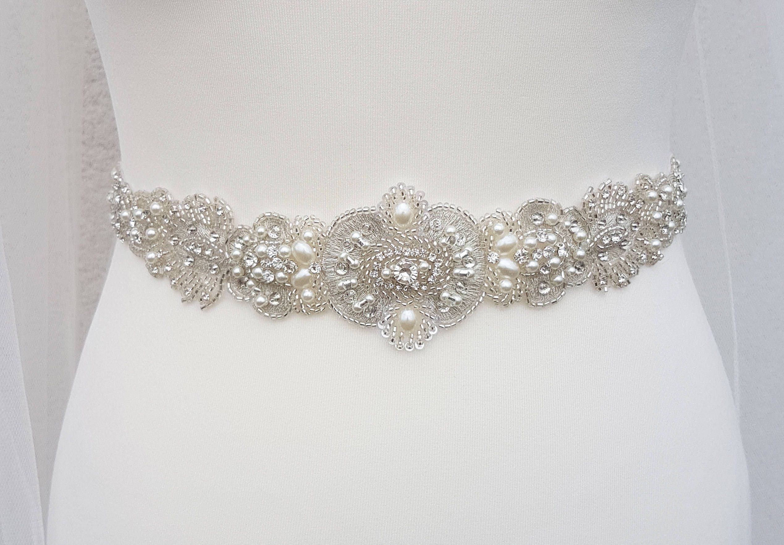 Bridal belt, All around, beaded belt, pearl bridal belt, wedding ...