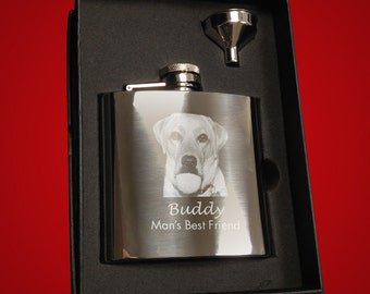 Stainless Steel 6oz Hipflask - Personalised with Text and/or a Photo