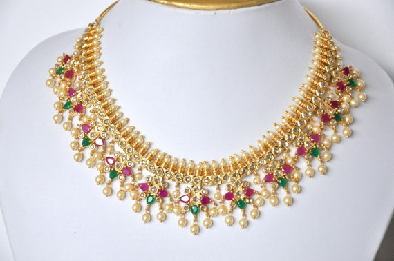 Gold plated cubic zirconia Indian necklace set | Indian bridal Jewelry set perfect for Indian weddings