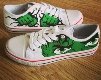 Incredible Hulk Shoes, Marvel Custom Shoes, Custom Converse, Converse Allstars, Vans Shoes, Painted Shoes