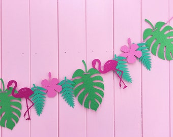 Flamingo Bunting – Tropical Party Decor Banner – Pink and Green Garland