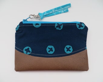 Curved Zippy Pouch • Navy/Teal/Faux Leather