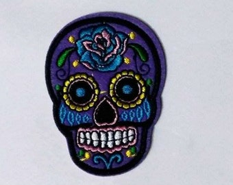 Embroidered Sugar Skull Patch - Iron or Sew On Applique / Sew on Patch - #SP-00017