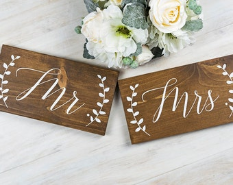 Wedding Decor- Wedding Chair Signs- Mr. and Mrs.- Ethereal Wedding- Wedding Signs- Woodland Wedding- Wedding Decor with Laurels- Rustic