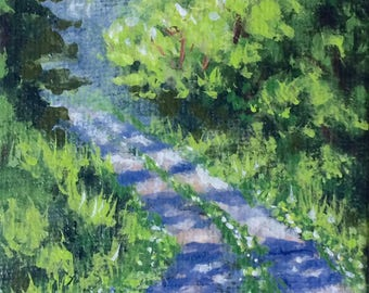 Tiny country road painting, original acrylic, 2x2 inches