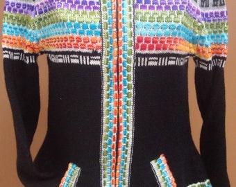 New, 100% alpaca wool women sweater, cardigan M size, black color, hoddie, zippered, warm, andean
