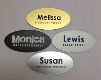 "Engraved Oval Name Badge 1.5"" x 3"" Set of 12 - Name Tags w/ Magnet or Pin  - Laser Cut -  Employee Manager Wholesale Business Professional"