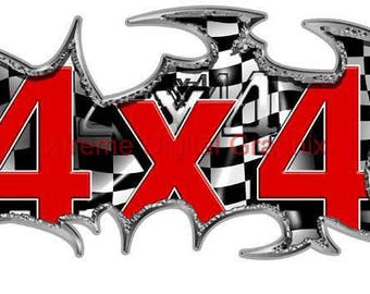 Checkered Flag 4x4 Truck Graphic Decals  Kit