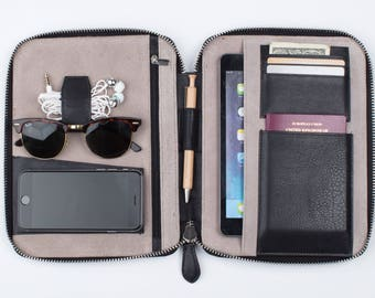 LEATHER TRAVEL WALLET (medium) (black) iPad Mini Kindle folio passport holder document organiser organizer portfolio cover real genuine