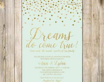 MINT GOLD ADOPTION Shower Invitation, Dreams Do Come True, Baby Boy Adoption Celebration Invite, Polka Dots Motherhood Miracle Diy Printable