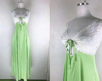 1960s Lime Green and White Flower Lace Glydons Nightgown // 60s Bright Green and Sheer Lace Retro Nightgown with Keyhole and Bow