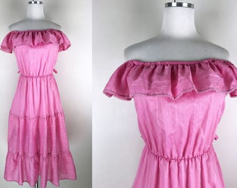 1970s does 1950s Pink Peasant off the Shoulder Dress // 70s does 50s Shirt Dress with Ruffles and Tiered Skirt