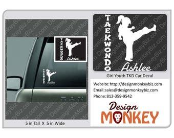 TaeKwonDo Girl Youth Silhoutte Car Window Decal