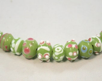 Lime Green, Pink and White Lampwork  Rondelles  12 Beads  (9 x 6 mm)