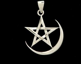 Sterling Silver Crescent Moon Pentagram Pendant Necklace