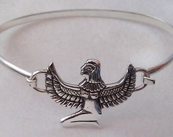 Sterling Silver Isis Egyptian Goddess Bangle Goddess Isis Bangle