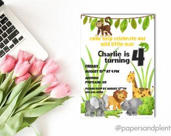 "Safari ""Wild One"" Animal Birthday Invitation | Kids Birthday Party Invite | Jungle Animal Party | Kid's Birthday  | Printable File"