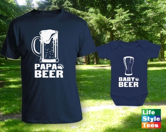 Papa Beer and Baby Beer Matching Father Son Shirts, Gifts for Him, Matching Dad Baby Shirts, Matching Family Outfits, bodysuit CT-960-961