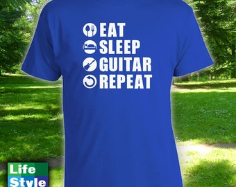 Eat Sleep Guitar Repeat Shirt - Gift Idea for Guitar Lover, Music Lover, Guitar Shirts, Punk Rock, Indie, Hardcore, Rockabilly, Etsy CT-981