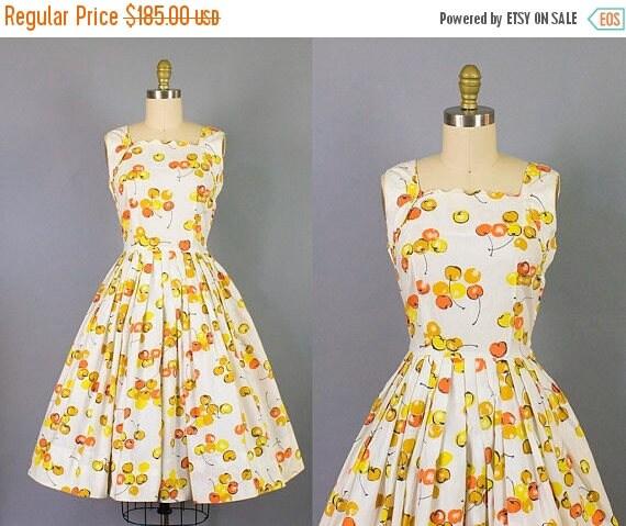 SALE 15% STOREWIDE 1950s cherry print sundress w/ scalloped neckline/ 50s novelty print cotton dress/ small