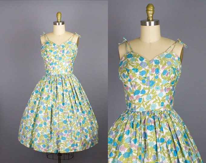 1950s floral sundress/ 50s cotton spaghetti strap dress/ candy jones/ small