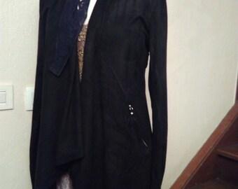 Asymmetrical black suede jacket