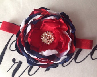 Blue, Red and White Flower. Patriotic Flower measures about 4 inches.