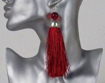red tassel earrings, silver tassel earrings, dangle drop earrings, gift for her, statement earrings