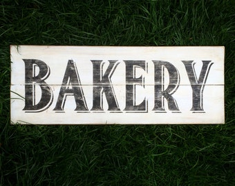Vintage Look Wood Bakery Sign | Distressed Black on White