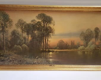 HUGE Rare Vintage A.D. Greer Sunset Glow Turner painting art print wall hanging!