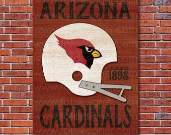 Arizona Cardinals - Vintage Helmet - Art Print - Perfect for Mancave
