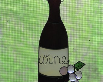 Wine Bottle Stained Glass