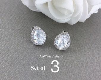 Set of 3 Stud Earrings CZ Bridal Earrings Wedding Stud Earrings Bridesmaid Earrings Stud Crystal Earrings Teardrop Earrings Bridal Jewelry