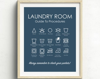 Laundry Symbols Print, Laundry Room Art, Laundry Instructions, Laundry Room Sign, Home Decor, Navy Blue