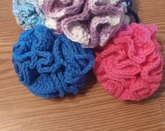 Crochet washable bath poufs